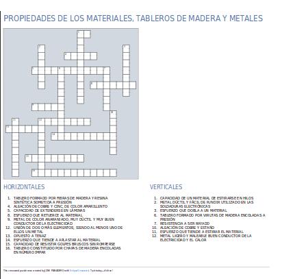 Crucigrama sobre propiedades de los materiales tableros - Propiedades de la madera ...